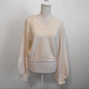 Ivory eyelash knit sweater